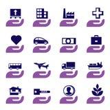 Geplaatste de pictogrammen van de verzekering Royalty-vrije Stock Foto's