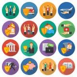 Geplaatste de pictogrammen van de verzekering Stock Afbeeldingen