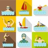 Geplaatste de pictogrammen van de watersport, vlakke stijl stock illustratie