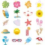Geplaatste de pictogrammen van de zomer Stock Fotografie
