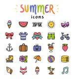 Geplaatste de pictogrammen van de zomer Royalty-vrije Stock Fotografie