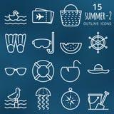Geplaatste de pictogrammen van de zomer Pictogrammen van het pixel de perfecte vectoroverzicht volume 2 Stock Fotografie