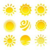Geplaatste de pictogrammen van de zon Royalty-vrije Stock Afbeeldingen