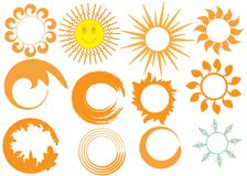 Geplaatste de pictogrammen van de zon Stock Afbeeldingen