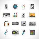 Geplaatste de pictogrammen van DJ Stock Foto