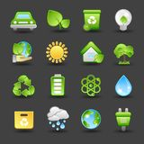 Geplaatste de pictogrammen van Eco Stock Afbeeldingen