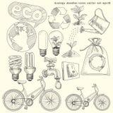 Geplaatste de pictogrammen van ecologiekrabbels Stock Afbeelding