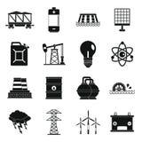 Geplaatste de pictogrammen van energiebronnenpunten, eenvoudige stijl Royalty-vrije Stock Afbeelding