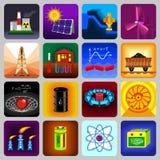Geplaatste de pictogrammen van energiebronnenpunten, vlakke stijl Stock Foto