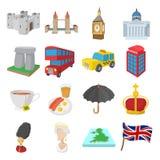 Geplaatste de pictogrammen van Engeland, beeldverhaalstijl Royalty-vrije Stock Foto
