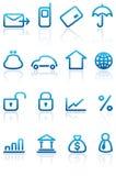 Geplaatste de pictogrammen van financiën en van het Bankwezen Stock Foto