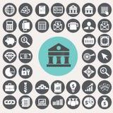 Geplaatste de pictogrammen van financiën en van het Bankwezen Royalty-vrije Stock Afbeeldingen
