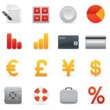 Geplaatste de Pictogrammen van financiën | Rode Serie 01 Royalty-vrije Stock Afbeeldingen