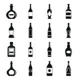 Geplaatste de pictogrammen van flessenvormen, eenvoudige stijl Stock Foto's