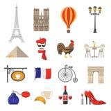 Geplaatste de Pictogrammen van Frankrijk vector illustratie