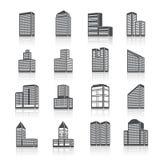 Geplaatste de pictogrammen van gebouwgebouwen Stock Foto's