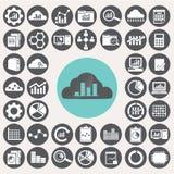 Geplaatste de pictogrammen van gegevensanalytics Royalty-vrije Stock Foto's