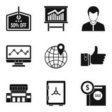 Geplaatste de pictogrammen van de geldbescherming, eenvoudige stijl Stock Fotografie