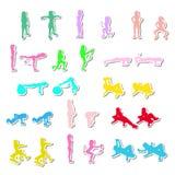 Geplaatste de pictogrammen van geschiktheidsoefeningen Stock Afbeeldingen