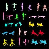 Geplaatste de pictogrammen van geschiktheidsoefeningen Royalty-vrije Stock Afbeeldingen