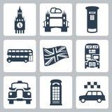 Geplaatste de pictogrammen van Groot-Brittannië, Londen Stock Afbeeldingen