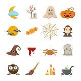 Geplaatste de pictogrammen van Halloween Stock Fotografie