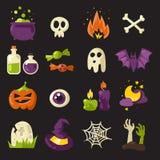 Geplaatste de pictogrammen van Halloween Stock Afbeeldingen