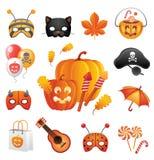 Geplaatste de pictogrammen van Halloween Royalty-vrije Stock Foto's