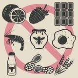 Geplaatste de pictogrammen van het allergievoedsel Stock Afbeelding