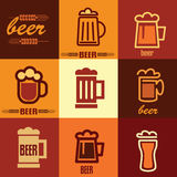 Geplaatste de pictogrammen van het bier Royalty-vrije Stock Foto