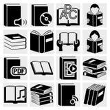 Geplaatste de pictogrammen van het boek. royalty-vrije illustratie