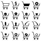 Geplaatste de pictogrammen van het boodschappenwagentje Stock Afbeelding
