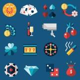 Geplaatste de pictogrammen van het casino Royalty-vrije Stock Afbeelding