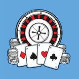 Geplaatste de pictogrammen van het casino Stock Afbeeldingen