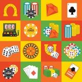 Geplaatste de pictogrammen van het casino Stock Fotografie