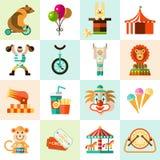 Geplaatste de Pictogrammen van het circus Stock Afbeelding