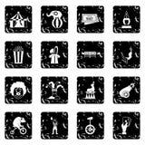 Geplaatste de pictogrammen van het circusvermaak, eenvoudige stijl Stock Foto's