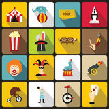 Geplaatste de pictogrammen van het circusvermaak, vlakke stijl Royalty-vrije Stock Afbeeldingen