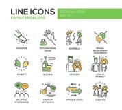Geplaatste de pictogrammen van het de lijnontwerp van familieproblemen vector illustratie