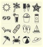 Geplaatste de pictogrammen van het de zomerstrand Royalty-vrije Stock Foto