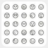 Geplaatste de pictogrammen van het emotiegezicht Stock Fotografie