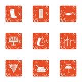 Geplaatste de pictogrammen van het energiedorp, grunge stijl Stock Fotografie