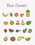 Geplaatste de pictogrammen van het fruit stock illustratie