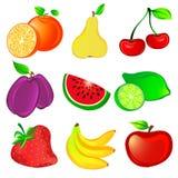 Geplaatste de pictogrammen van het fruit Stock Fotografie