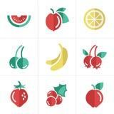 Geplaatste de pictogrammen van het fruit Stock Foto