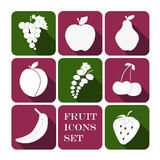 Geplaatste de pictogrammen van het fruit Royalty-vrije Stock Foto's