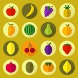 Geplaatste de pictogrammen van het fruit Stock Afbeelding