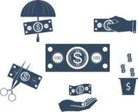 Geplaatste de pictogrammen van het geld Royalty-vrije Stock Fotografie