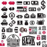Geplaatste de pictogrammen van het geld De Inzameling van financiënpictogrammen Dit is dossier van EPS10-formaat vector illustratie