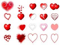 Geplaatste de pictogrammen van het hart Royalty-vrije Stock Foto's